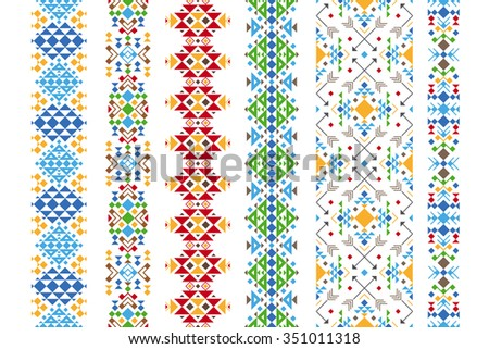 Color ethnic ornament. Native embroidery geometric pattern. Vector illustration.  - stock vector