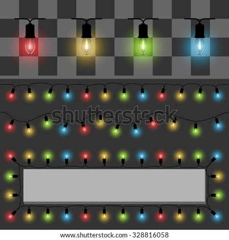 Color fairy lights vector template with examples of usage. - stock vector