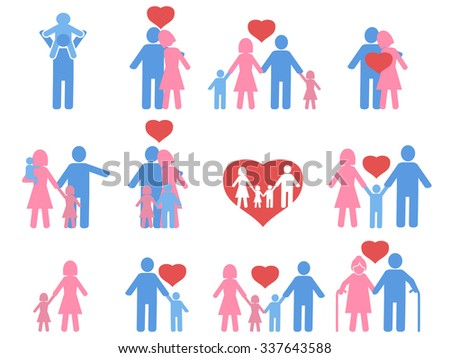 color family icons set - stock vector