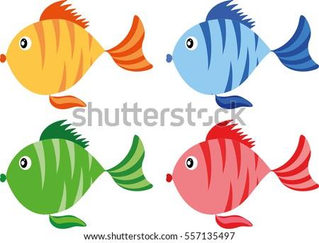 color fish cartoon icon