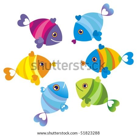 Color fishes. Vector illustration - stock vector