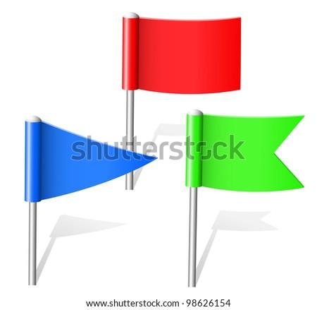 Color flag pins. Vector. - stock vector