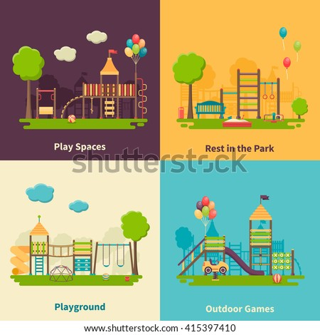 Color flat composition 2x2 depicting different outdoor playground and play spaces for rest in the park and games vector illustration - stock vector
