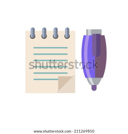 color flat style notebook and pen icons