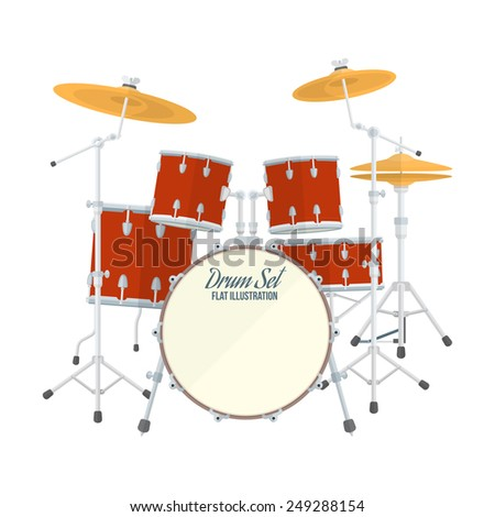 color flat style vector drum set on white background bass tom-tom ride cymbal crash hi-hat snare stands  - stock vector