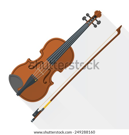 color flat style vector violin fiddle bow on white background   - stock vector