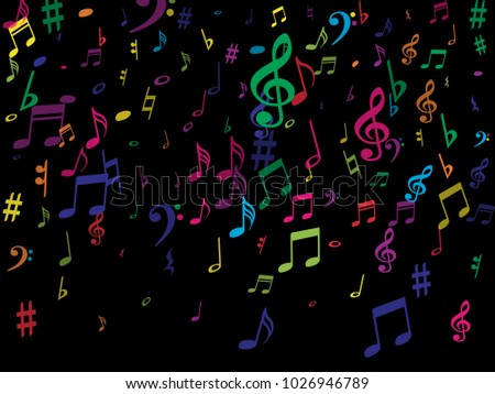 Color Flying Musical Notes Isolated On Stock Vector Hd Royalty Free