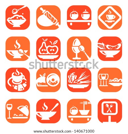 Color Food And Kitchen Icons Set Created For Mobile, Web And Applications. - stock vector