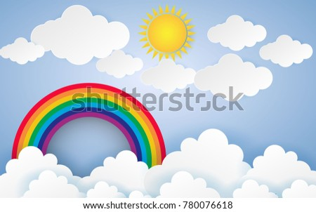 Color Full Cloud Paper Style art vector illustration