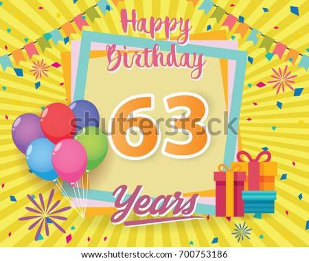 Color Full 63rd Birthday Celebration Greeting Stock Vector 2018