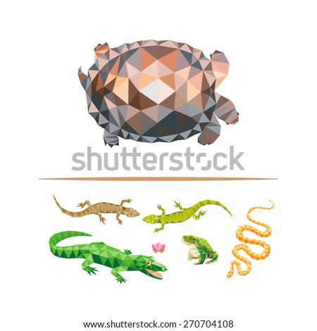 Color geometric reptiles design set. Collection of turtle, lizard, frog, snake. - stock vector