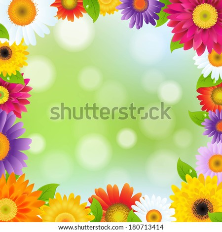 Color Gerbers Flower Frame, With Gradient Mesh, Vector Illustration - stock vector