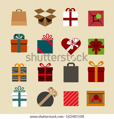 Color gift boxes icons collection. Retro style  - stock vector
