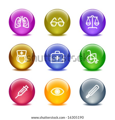 Color glass ball web icons, set 13