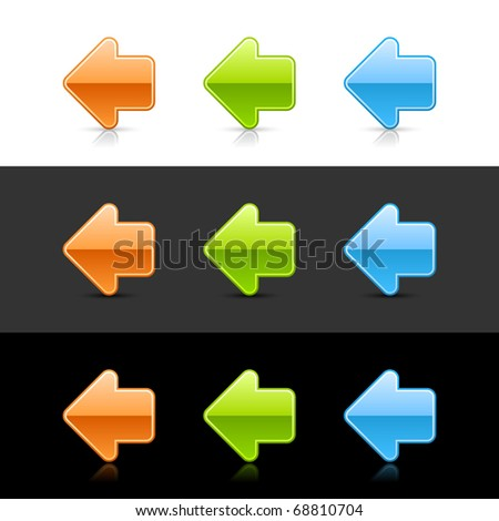 Color glossy arrow left icon web 2.0 buttons with reflection and shadow on white, gray and black - stock vector