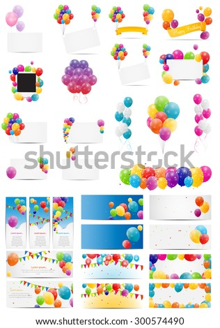 Color Glossy Balloons Card Mega Set Vector Illustration EPS10 - stock vector