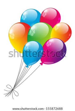 Color glossy balloons on white - stock vector