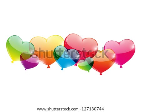 Color glossy balloons on white background