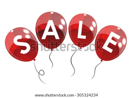 Color Glossy Balloons Sale Concept of Discount. Vector Illustration. eps10