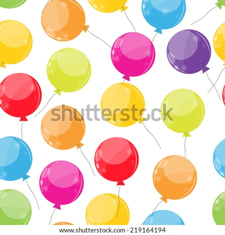 Color Glossy Balloons Seamles Pattern Background Vector Illustration EPS10  - stock vector