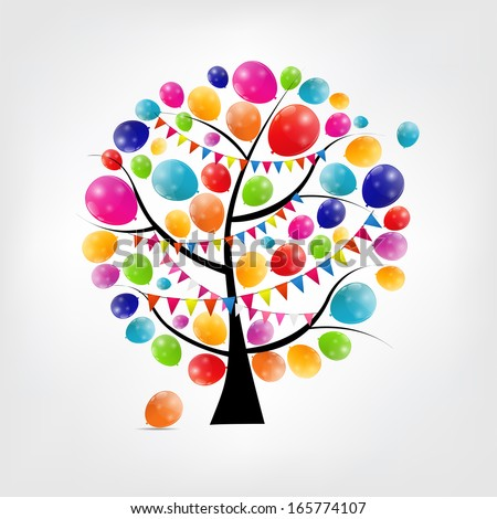 Color glossy balloons tree background vector illustration