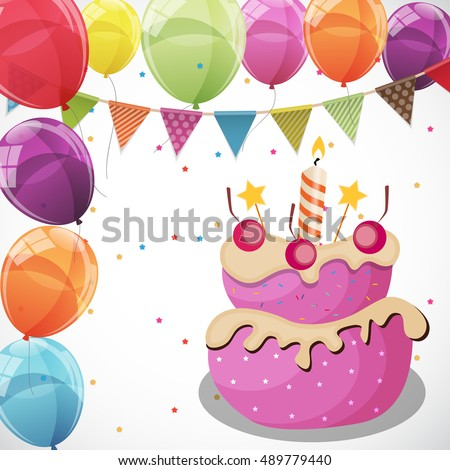 Color Glossy Happy Birthday Balloons Flags Stock Vector 2018