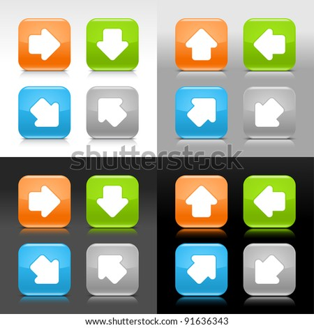 Color glossy web internet button with arrow symbol. Rounded square icon with shadow and reflection on four background. This vector saved in 8 eps. Do not contain effects and transparency - stock vector
