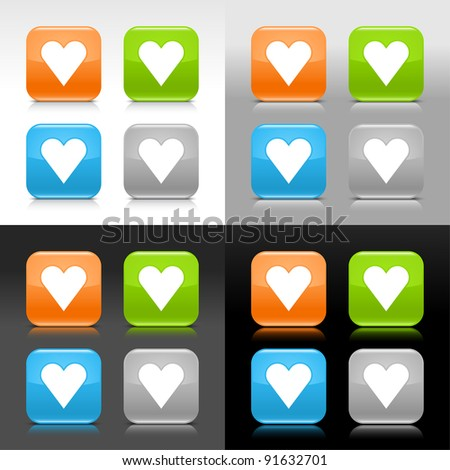 Color glossy web internet button with heart sign. Rounded square icon with shadow and reflection on four background. This vector saved in 8 eps. Do not contain effects and transparency - stock vector
