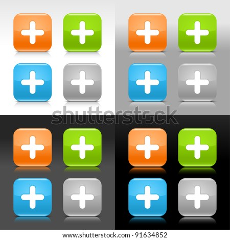 Color glossy web internet button with plus sign. Rounded square icon with shadow and reflection on four background. This vector saved in 8 eps. Do not contain effects and transparency - stock vector