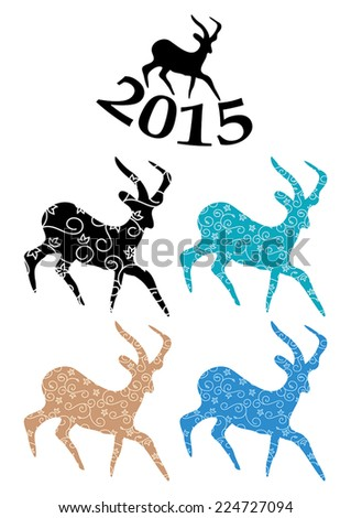 color goats - vector symbol of chinese 2015 year  - stock vector
