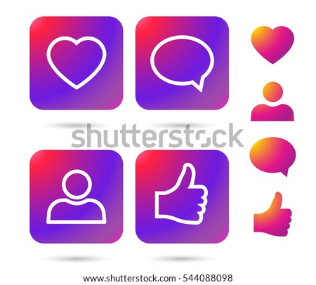 Color gradient icon template. Vector illustration on white background for your social media app design project and other.Like button isolated