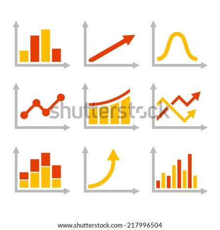 Color Graph Chart Icons Set. Vector illustration - stock vector