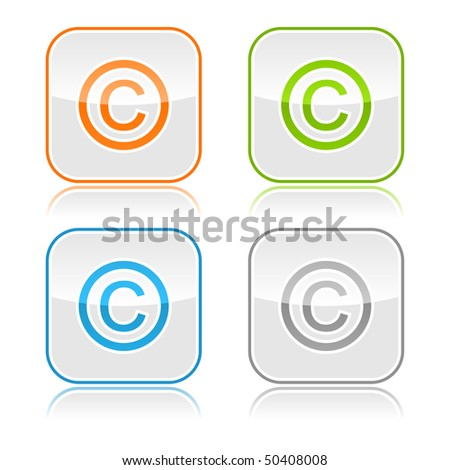 Color gray glassy button with copyright and color reflection - stock vector
