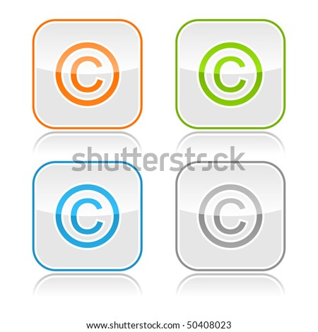 Color gray glassy button with copyright and gray reflection - stock vector