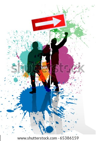 Color grunge poster with road sign stop - stock vector