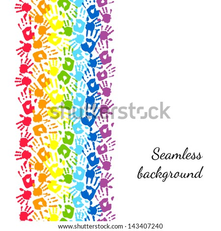 Color hands, rainbow seamless border background, vector - stock vector