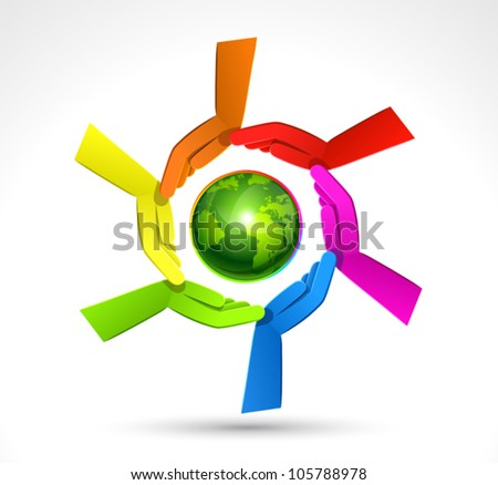 Color Hands Surrounding the Earth Globe. Vector - stock vector