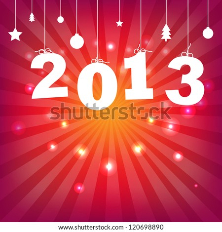 Color Happy New Years Card With Gradient Mesh, Vector Illustration