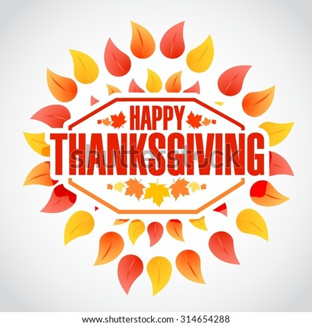 color Happy thanksgiving stamp illustration sign over autumn leaves background - stock vector