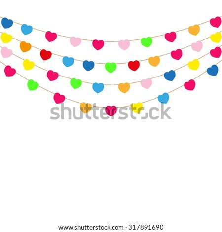 Color heart flags banner white background vector illustration