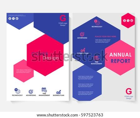 Color Hexagon Annual Report Cover Design Stock Vector - Keynote brochure template