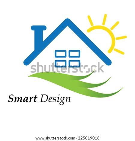 Color house icon logo vector illustration - stock vector