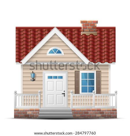 Color house with porch. Front view (facade) of single home. Qualitative vector illustration about architecture, building, real estate, construction, development, renovation, housing, etc - stock vector