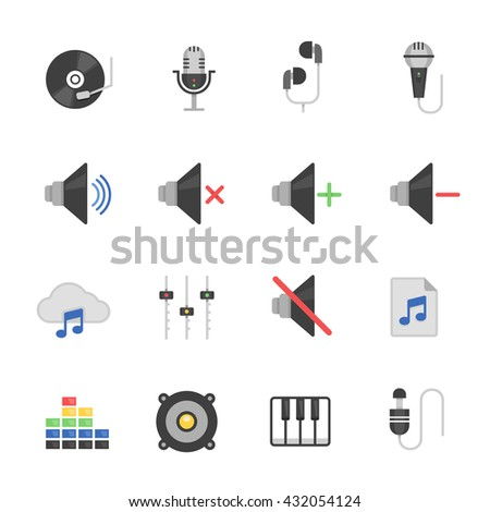 Color icon set - audio - stock vector