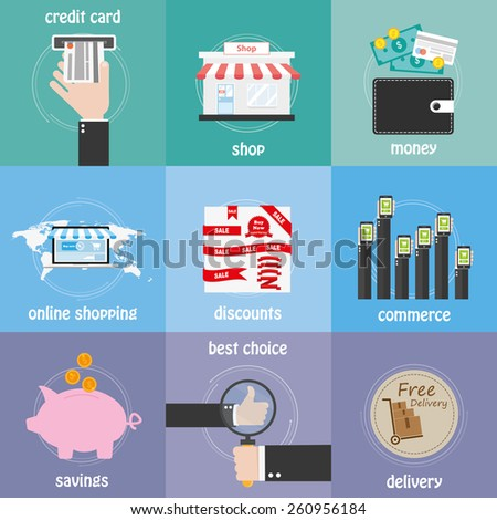 Color icons commerce, shop, delivery, best choice and discounts - stock vector