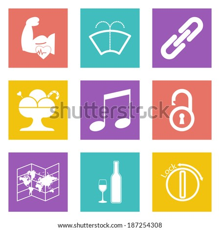 Color icons for Web Design and Mobile Applications set 48. Vector illustration. - stock vector