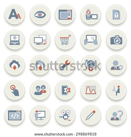 Color icons on white buttons. Flat design icons for web design development, SEO and internet marketing. - stock vector