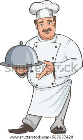 Color illustration of a chef with dish isolated on white background