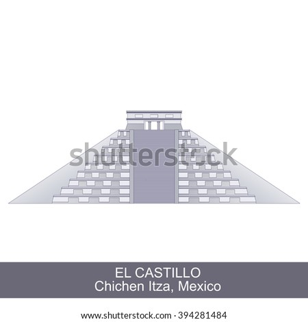 Color Illustration of El Castillo, Kukulkan Pyramid in Chichen Itza, Mexico - stock vector