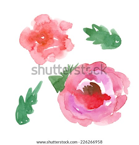 Color illustration of flowers in watercolor paintings - stock vector